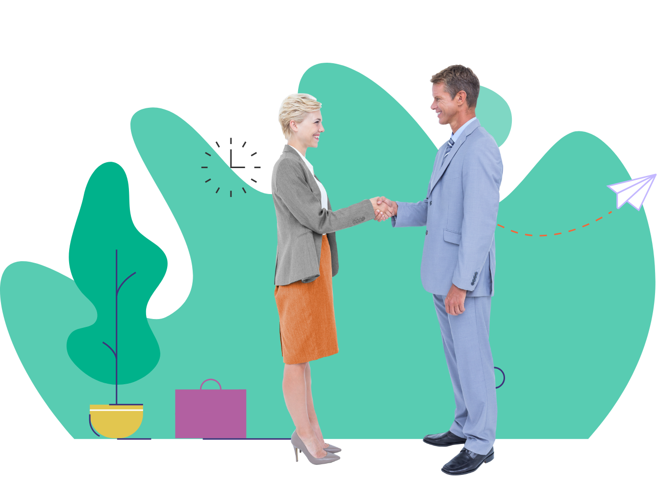 Formally dressed male and female shaking hands with briefcase, plant and green graphic background