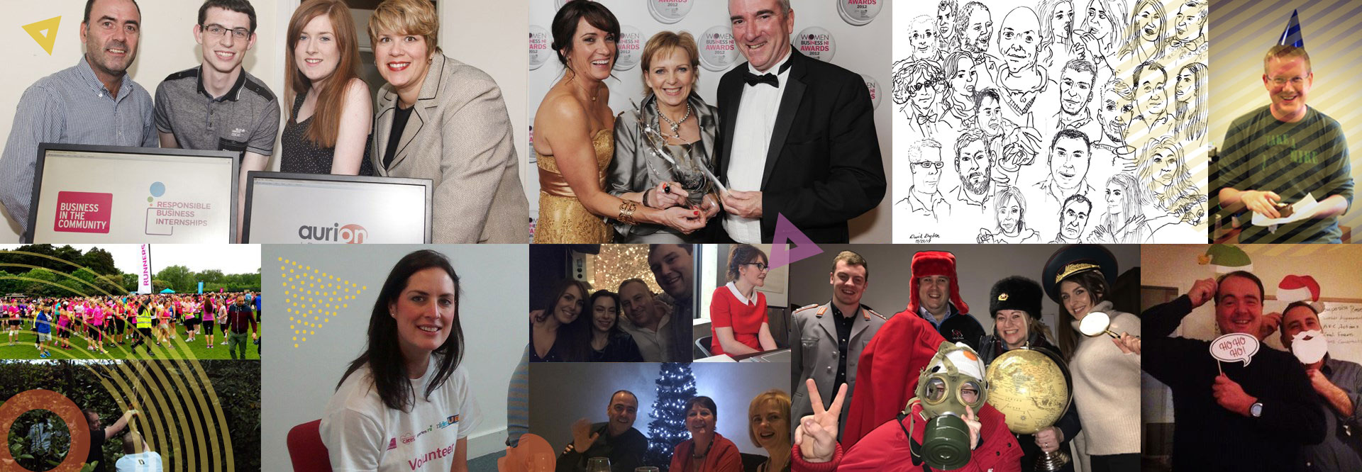Collage of Aurion Learning team at work events and awards ceremonies