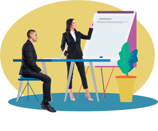 Man and woman dressed in suits with graphic of whiteboard, blue table and plant on yellow and blue background