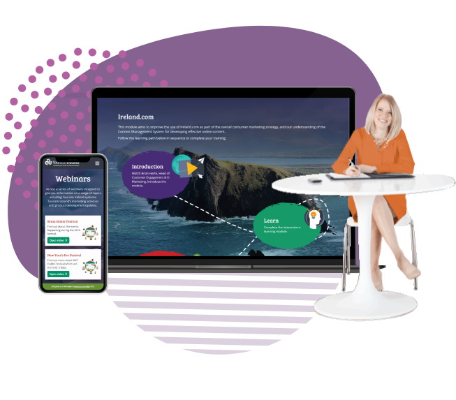 Businesswoman sat at a white table with background graphic of laptop and mobile showing Tourism Ireland custom eLearning portal