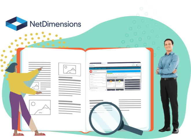 Graphic showing NetDimensions logo with a formally dressed man standing beside a graphic of a woman pointing at a page in an open book