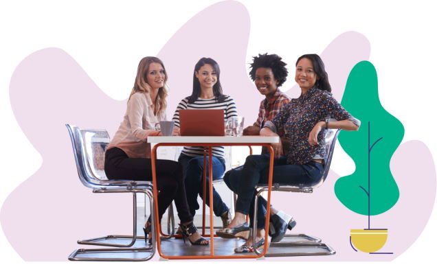 Group of female workers sat at a table with a laptop with graphic plant and splash purple background