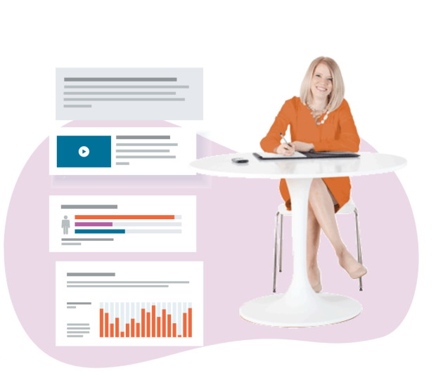 female professional sat at a table with graphics of learning management system content