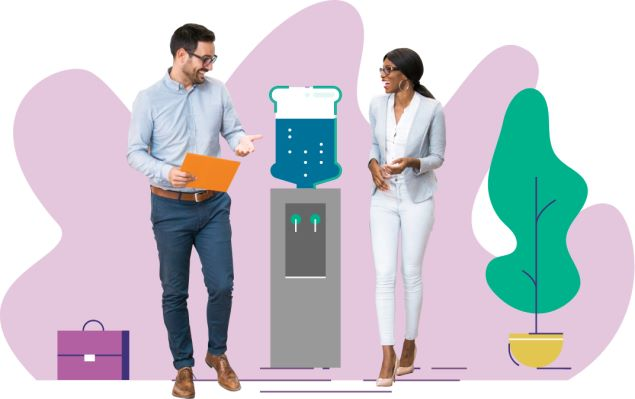 Male and female professional stood around a graphic of a water cooler on purple background with plant and briefcase