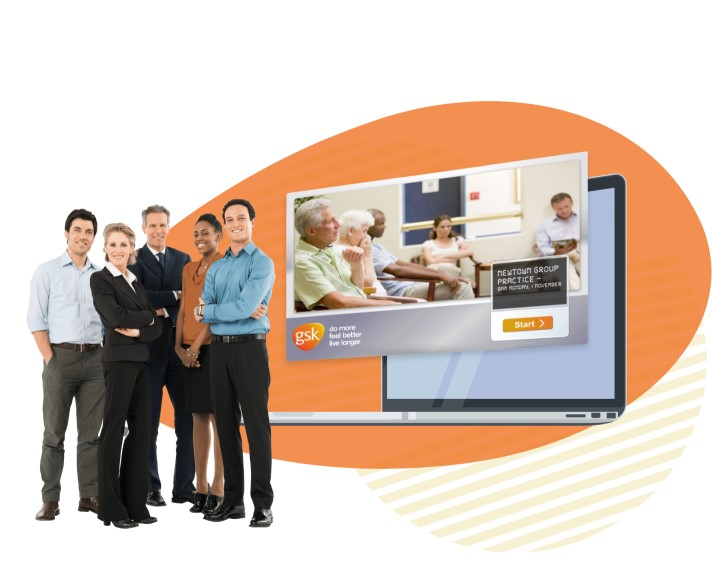 Group of formally dressed professionals standing in front of a graphic with Glaxosmithkline eLearning portal