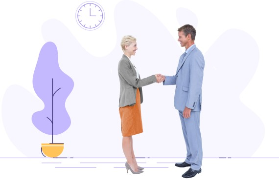 male and female professionals shaking hands with graphic background of clock and purple plant