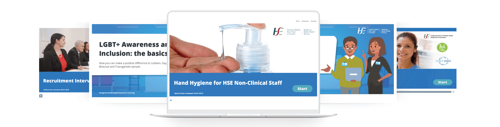 HSELanD eLearning courses on laptop screens including hand hygiene, LGBT+ awareness, recruitment and diversity modules.png